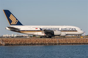Singapore Airlines Airbus A380-800 9V-SKE at Kingsford Smith