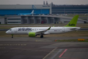 Air Baltic Airbus A220-300 YL-AAP at Schiphol