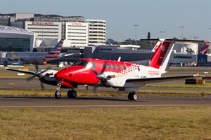 RFDS - Royal Flying Doctor Service (South Eastern Section) Beech King Air 200C VH-AMQ at Kingsford Smith